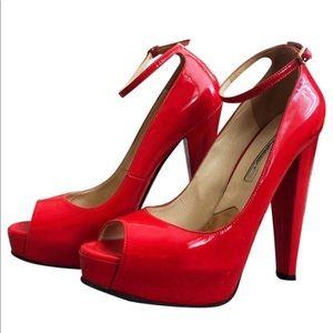 Red Peep-toe Flatform pumps size Us9.5 Regular(M,B